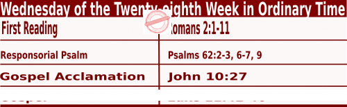 Bible quotations in Mass Readings for October 13 2021, Wednesday of the Twenty-eighth Week in Ordinary Time - Catholic Readings for October 13 2021